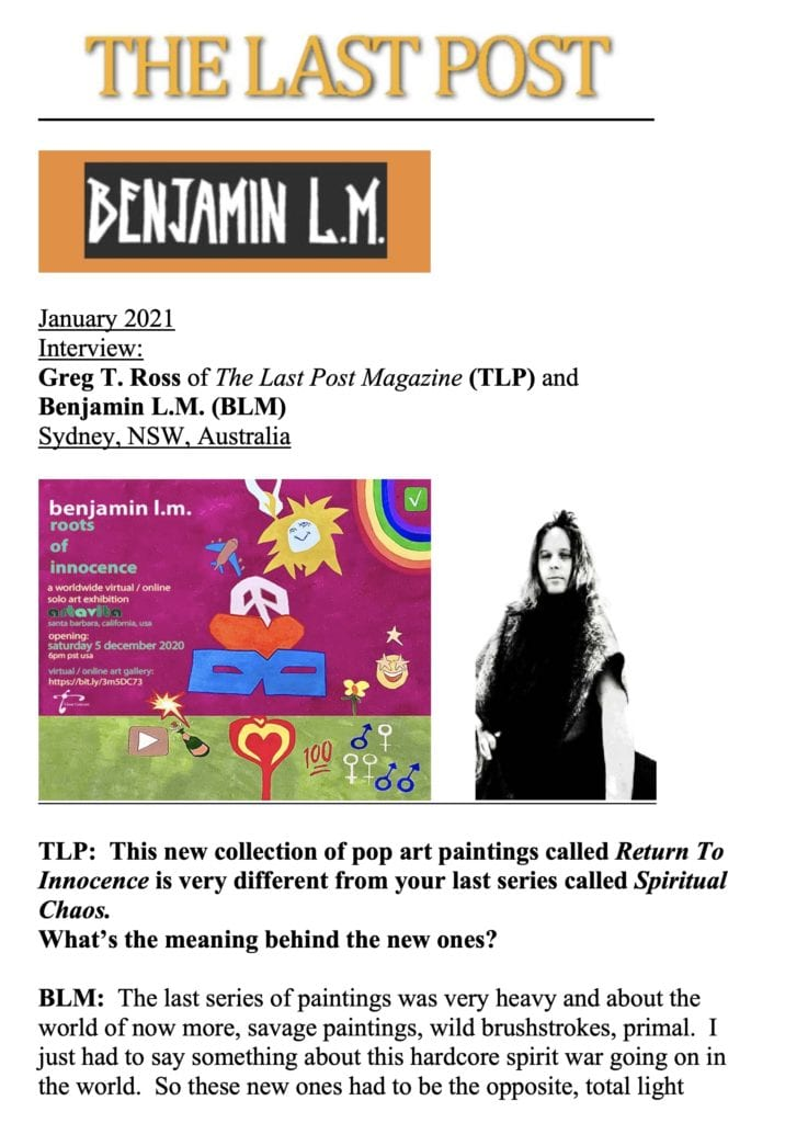 Artist Benjamin LM Interview with The last Post magazine